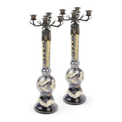 Go Home - Pair of Glass Harston Candlesticks - Antiqued smokey glass Harston Candlesticks with fern-like etching characterizes.An aged tulip leaf cover caps off the top  support five candle holders each. Amazingly made from glass and has antiqued smokey etched finish.