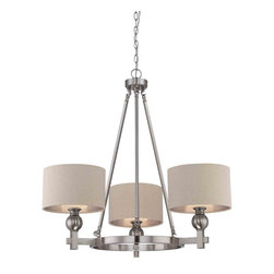 Quoizel Lighting - Quoizel CKMO5003BN Metro Brushed Nickel 3 Light Chandelier - 3, 100W A19 Medium