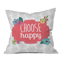 DENY Designs - Lara Kulpa Choose Happy Throw Pillow - Wanna transform a serious room into a fun, inviting space? Looking to complete a room full of solids with a unique print? Need to add a pop of color to your dull, lackluster space? Accomplish all of the above with one simple, yet powerful home accessory we like to call the DENY throw pillow collection! Custom printed in the USA for every order.