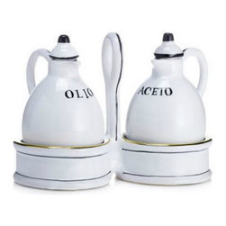 Artistica - Hand Made in Italy - POSATA: Oil and Vinegar cruet set with caddy. - POSATA Collection. A Deruta of Italy clever dinnerware design by retailer, author and trendsetter Peri Wolfman.