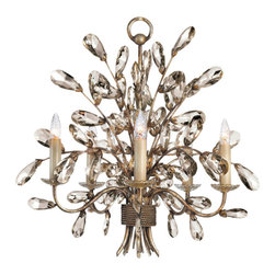 Fine Art Lamps - A Midsummer Nights Dream Chandelier, 224540ST - What could be more delightful than a bouquet of beautiful crystals clustered around bright candles? Let this moonlit patina fixture shed its fanciful light in your favorite formal setting.