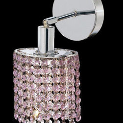 Elegant Lighting - Mini Ellipse Chrome One-Light Bath Fixture with Royal Cut Rosaline Pink Crystal - Royal Cut crystal is a combination of high quality lead free machine cut and machine polished crystals and full-lead machined-cut crystals to meet a desirable showmanship of an authentic crystal light fixture.  -Recommended to be professionally hung and supported independently of the outlet box. Consult an electrician for guidance to determine the correct hanging procedure.  -Crystals may ship separately and some assembly is required.  -Depending on the size & design the assembly can be time consuming, but is well worth the effort. Elegant Lighting - 1281W-R-E-RO/RC