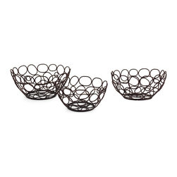 """IMAX CORPORATION - Nesting Bowls - Set of 3 - Set of Three Matching Iron Nesting Bowls with Cut Out Circular Pattern. Comes in various sizes measuring around 20.5""""L x 15""""W x 20.5""""H each. Shop home furnishings, decor, and accessories from Posh Urban Furnishings. Beautiful, stylish furniture and decor that will brighten your home instantly. Shop modern, traditional, vintage, and world designs."""