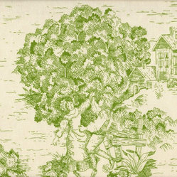 "Close to Custom Linens - 90"" Toile Round Tablecloth, Apple Green - Indoors or out, this custom-made toile tablecloth is sure to make a statement. The lively scenes in subtle apple green and cream hues provide a pleasing palette for your linens and tableware."