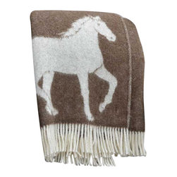 "Happy Blanket - 100% New Zealand Wool Throw Blanket 51"" X 67"", Brown - The Horse blanket is a perfect jazz up for your deco, for cozy snuggling in the cold winter evening, or just to add extra warmth on your bed. Great present for the young and older."