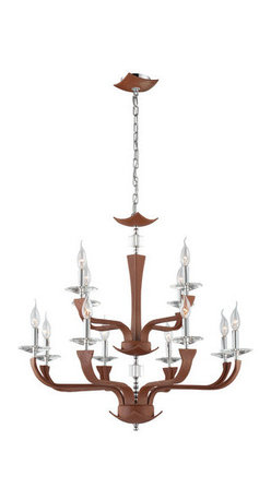 Eurofase Lighting - Eurofase Lighting 22807 Pella 12 Light Chandelier - Eurofase Lighting 22807 Pella 12 Light ChandelierLeather, cut crystals accents, and chrome mounting combine to create this unique chandelier. The top-grain leather is first sanded, then tanned, and finally hand stitched for high quality and perfection. Eurofase Lighting 22807 Features: