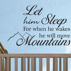 Decals for the Wall - Wall Decal Sticker Quote Vinyl Let Him Sleep Baby Boy Will Move Mountains K94 - This decal says ''Let him sleep for when he wakes he will move mountains''