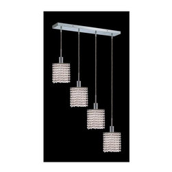Elegant Lighting - Mini Clear Crystal Pendant w 4 Lights in Chrome (Royal Cut) - Choose Crystal: Royal Cut. 3 ft. Chain/Wire Included. Bulbs not included. Crystal Color: Crystal (Clear). Chrome finish. Number of Bulbs: 4. Bulb Type: GU10. Bulb Wattage: 55. Max Wattage: 220. Voltage: 110V-125V. Assembly required. Meets UL & ULC Standards: Yes. 26 in. D x 8 to 48 in. H (12lbs.)Description of Crystal trim:Royal Cut, a combination of high quality lead free machine cut and machine polished crystals & full-lead machined-cut crystals..SPECTRA Swarovski, this breed of crystal offers maximum optical quality and radiance. Machined cut and polished, a Swarovski technician¢s strict production demands are applied to this lead free, high quality crystal.Strass Swarovski is an exercise in technical perfection, Swarovski ELEMENTS crystal meets all standards of perfection. It is original, flawless and brilliant, possessing lead oxide in excess of 39%. Made in Austria, each facet is perfectly cut and polished by machine to maintain optical purity and consistency. An invisible coating is applied at the end of the process to make the crystal easier to clean. While available in clear it can be specially ordered in a variety of colors.Not all trims are available on all models.