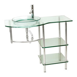 Renovators Supply - Glass Sinks Glass/Chrome Cordelia Console Glass Sink - Glass Sinks: the tempered glass Cordelia console sink package comes complete with faucet, pop-up drain and p-trap.