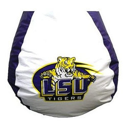 "Bean Bag Boys - Louisiana St. Tigers Vinyl Bean Bag - Decorated in colors of purple and gold, the lively depiction of mascot Mike the Bengal Tiger almost leaps off the logo in a display of competitive ferocity, his lovely paws reaching out and his fierce claws extended.  This bean bag is a wonderful way to show team spirit. * Durable vinyl constructionBean bag features logo for Louisiana St. Tigers 30"" X 30"" 36"". 112"" Circumference10 lbs."
