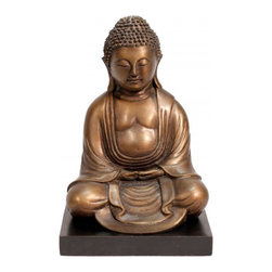 """n/a - 8""""h. Bronze Japanese Kyoto Buddha Statue - Thai Bronze sculpture, 8"""" high. This Japanese style Buddha is a reproduction of the famous Kyoto Buddha. This Buddha sitting in peace is a simple and elegant sculpture. Black modern base enhances its form. Made in Thailand, this quality cast bronze is a wonderful addition to any collection. Wonderfully detailed at a affordable price."""