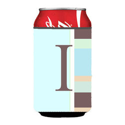 Caroline's Treasures - Letter I Initial Monogram - Blue Stripes Can or Bottle Hugger - Can Cooler - this collapsible koozie fits 12 ounce beverage.  Cans or bottles.  Permanently dyed and fade resistant. Will not crack or peel.  Great to show off your breed.  Match with one of the insulated coolers for a nice gift pack.