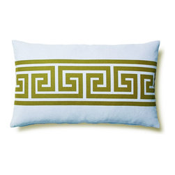 5 Surry Lane - Greek Key Lumbar Home Decor Accent Pillow, Green - Our stylish Greek Key pillow, inspired by the classic Greek Key design, is an exceptional addition to either traditional or contemporary d̩cor. It's bright hue and poppy pattern will add a playful chic vibe to your space. 100% cotton.  Wash in cold water with mild detergent.  Down insert included. Hidden zipper closure. Made in the China.