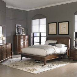 Homelegance Kasler 5 PCs. Walnut Sleigh Bedroom Set 2135-1 - Bent wood drawer-fronts, accented with polished graphite grey hardware, create graceful curves that carry each case piece.