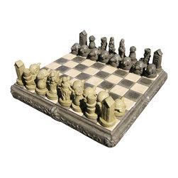 "Gardeners Stone Chess Set, Sedona - (Second image shows ""Sedona"" color)"