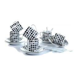 """Concepts Life - Concepts Life Espresso Cup Set  City Chic - Take our word for it -- espresso simply cannot be enjoyed in a regular coffee mug. Delicious, rich, bitter-sweet energy flows better from these beautiful espresso cups. Give this set of six as a gift (who says you can't be the recipient? -- We won't tell...). Comes in elegant gift box.  Set includes 6 espresso cups, 6 saucers and 6 stirring spoons Made of 100% porcelain Holds 2 ounces Measures: 2""""h X 2"""" opening"""