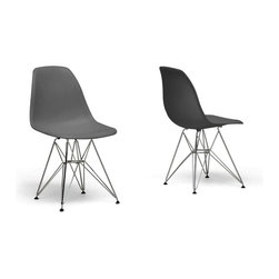 Baxton Studio - Baxton Studio Beige Plastic Side Chair-Set of 2 - Many uses ?C in the home, office, caf??, reception area, or training room. Clean, simple form sculpted to fit the body. Shells are recyclable polypropylene. Wire base are made from chromed steel. This chairs features in grey color option.