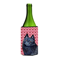 Caroline's Treasures - Schipperke Hearts Love and Valentine's Day Portrait Wine Bottle Koozie Hugger - Schipperke Hearts Love and Valentine's Day Portrait Wine Bottle Koozie Hugger Fits 750 ml. wine or other beverage bottles. Fits 24 oz. cans or pint bottles. Great collapsible koozie for large cans of beer, Energy Drinks or large Iced Tea beverages. Great to keep track of your beverage and add a bit of flair to a gathering. Wash the hugger in your washing machine. Design will not come off.