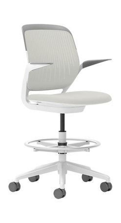 Steelcase - Steelcase Cobi Stool, White Frame w/Arms & Standard Casters, Coconut - If you want to be productive, get comfortable. This chair is so well-designed — with automatic, intuitive adjustments and multiple posture support — it's as beneficial to your brain as your body. You'll buckle down as soon as you sit and will be so busy, time will fly. The fact that it comes in so many cool colors? Consider it a perk!