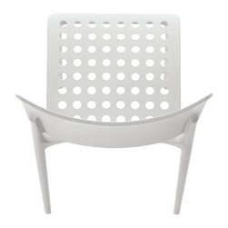 Bonaldo - BLUES Stacking Side Chair, White - Innovative and dynamic stacking chair, made through gas-assisted injection moulded Polypropylene. Suitable for indoor or outdoor use.
