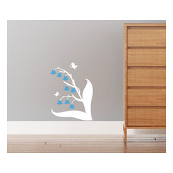 Cherry Walls - Lily Flowers & Butterflies Decal - Lily of the Valley has charmed generations with its distinctive cascade of bell-shaped flowers. For a classic yet contemporary touch in the nursery or playroom, put this lovely wall decal in a cool, shady spot where it can flourish. You may fancy yourself out in the garden — but definitely don't water this plant!