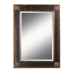 Uttermost - Bergamo Vanity Mirror - Mirror has a generous 1.25 in. bevel. Frame features a distressed chestnut Brown finish with mottled Black undertones, Gold leaf details and light Tan glaze. 28 in. W x 1 in. D x 38 in. H