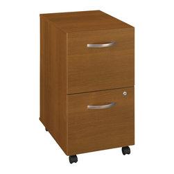 BBF - Bush Series C Mobile 2 Drawer File Pedestal in Warm Oak (Assembled) - Bush - Filing Cabinets - WC67552SU -