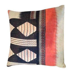 Vintage Geometric Kantha Pillow - Vintage Kantha pillow in black, orange, red and cream with a series of geometric designs. The pillow is backed with cream linen and has a zipper closure. Down fill.
