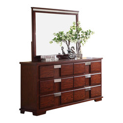 Coaster - Coaster Hyland Dresser and Mirror Set - Coaster - Dressers - 202243+4PKG - Coaster Hyland Six Drawer Dresser (included quantity: 1) You can give your bedroom a clean, casual and complete look by adding this dresser. The dresser carries a beautiful dark cherry finish and features sleek lines as well as brushed metal drawer handles for a beautiful contrasting look. In addition, the six drawers are wonderful for keeping sweaters, jeans, blankets, bedsheets and towels.
