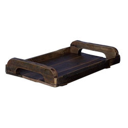 Home Decorators Collection - Philip Serving Tray - Our Philip Serving Tray offers the warm look of hand-cut wood. This hand-finished piece is perfect for an ottoman tray or as part of your table decor. Constructed of rough-sawn pine. Hand-applied lacquer. Two carrying handles. Made in the U.S.A.