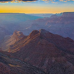 Magic Murals - Grand Canyon at Dusk Panorama Wall Mural -- Self-Adhesive Wallpaper by MagicMura - Panoramic vista of Arizona's Grand Canyon, carved by the Colorado River, just as the sun sets and the skies turn gold over the red cliffs below.  The set of many great films set in the American west.