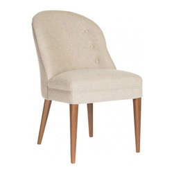 """Aidan Gray - AG Hom Emma Dining Chair Set of 2 - The Aidan Gray Hom Emma chair's contemporary form invites sophisticated dining. Sleek exposed legs and a round upholstered silhouette converge for mid-century modern flair. 33.5""""W x 30.5""""D x 40""""H; Set of 2; Cognac birch finish; Bates oatmeal wool & nylon upholstery; Handmade; Finish variations may occur"""