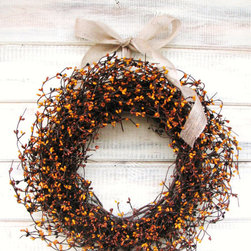 Pumpkin Pie Berry Wreath by Wild Ridge Design - This scented wreath is a cheery way to welcome guests. You can customize the ribbon color and pick from a long list of scents. I would go with pumpkin or apple cinnamon.