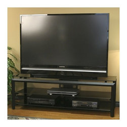 """Tech-Craft - Bernini 60"""" TV Stand - Features: -Heavy gauge diamond shaped tubing for strength and durability.-Brilliant black silkscreen glass.-Ample component space provided.-Easy access to wire management.-Fits most 52'' and smaller.-Can hold up to 150 lbs.-Shelves can hold up to 80 lbs.-Black finish.-Bernini collection.-Distressed: No.-Collection: Bernini Series."""