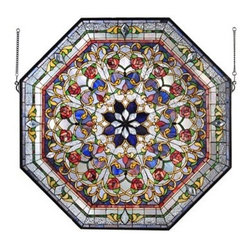Meyda Tiffany - Meyda Tiffany Front Hall Floral Medallion Stained Glass Tiffany Window X-422701 - Meyda Tiffany Front Hall Floral Medallion Stained Glass Tiffany Window X-422701