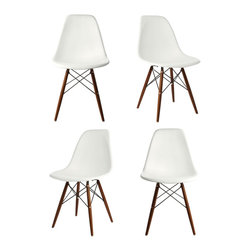 Ariel - S/4 Eames Molded White Plastic Dining Shell Chair W/Dark Walnut Wood Eiffel Legs - This set of 4 Eames Style DSW Molded Plastic Dining Shell Chair with Dark Walnut Wood Eiffel Legs will provide ample indoor seating for family and guests. Sporting a futuristic yet retro look at the same time, this chair set will be a great addition to any kitchen or dining room area. Constructed of heavy duty matte finish seats. Also available in black, gray, or light blue.