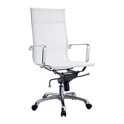LexMod - Regis White Mesh Office Chair - The Regis mesh office chair is a clean lined stylish choice. Built to last and comfortable, its mesh construction makes it comfortable in all weather.