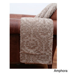 Thro - Clarissa 50 x 60-inch Faux Fur Throw - Add a warm and cozy touch to home decor with this Clarissa faux fur throw with a soft faux velvet back. Available in several colors,the throw is beautifully textured with a single tone floral pattern.