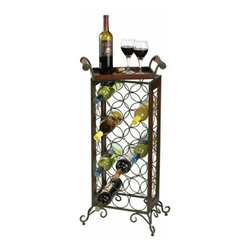 Howard Miller - Howard Miller Wine Butler with Removable Serving Tray - 655147 - Shop for Wine Bottle Holders and Racks from Hayneedle.com! Handsome and handy the Howard Miller Wine Butler with Removable Serving Tray is a wrought iron and wood floor-standing wine rack with a removable serving tray. The wrought iron metal wine rack is finished in warm gray and the wooden serving tray has an Americana Cherry finish. The wine rack holds up to 21 bottles at the proper angle for storing wines. This wine butler with serving tray measures 15.5W x 11D x 36H inches. Adjustable levelers under each corner provide stability on uneven and carpeted floors. Some assembly required.The Howard Miller StoryIncomparable workmanship unsurpassed quality and a quest for perfection - these were the cornerstones of the company Howard C. Miller founded back in 1926 at the age of 21. Even then Howard Miller understood the need to create products that would be steeped in quality and value.In 1989 Howard Miller began creating collectors' cabinets with the same attention to detail and craftsmanship inherent in their clock making. Fashioned from glass and hardwoods Howard Miller cabinets are ideal for displaying heirlooms plates glassware and other collectibles.A highly respected brand Howard Miller maintains its popularity because of the company's commitment to quality. Every product manufactured at the company's sprawling facility in Zeeland Michigan undergoes stringent tests and exceeds industry standards to ensure a lifetime of enjoyment.