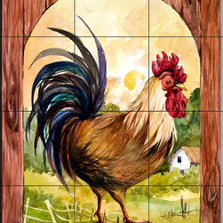 The Tile Mural Store (USA) - Tile Mural - Rise & Shine - Kitchen Backsplash Ideas - This beautiful artwork by Jerianne Van Dijk has been digitally reproduced for tiles and depicts a boldly colored Rooster.  This tile mural with images of farm animals on tiles would be perfect as a part of your kitchen backsplash tile project. Farm animal tiles with pigs on tiles and images of cows on tile make an impressive kitchen backsplash idea. Rooster tile murals and pictures of roosters on tiles is timeless and will never go out of style.