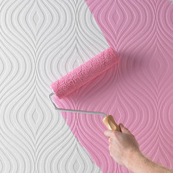 Curvy Paintable Wallpaper - Wallpaper doesn't have to be all different colors. Sometimes just having the texture is enough. This fun midcentury pattern cries out to be painted in a bright hue. And best of all, you can change your mind later!