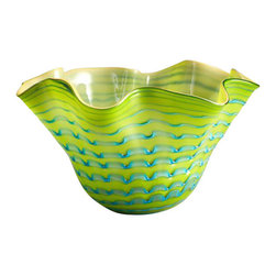 Cyan - Large Glasgow Bowl, Green - Weight: 12.5 lbs.