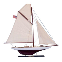"""Handcrafted Model Ships - Columbia Limited 25"""" - Wood Model Sailing Boat - Not a model ship kit.."""