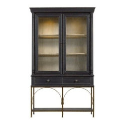"Stanley Furniture - Arrondissement Salon Cercle Cabinet - Rustic Charcoal Finish - Paris' flea markets are famed for the amazing range of vintage items they have for sale. There is an antique-inspired ""find"" in the Salon Cercle Cabinet. Resting on a metal base, the cabinet's glass doors are a charming opportunity to display objets d'art, beloved books or various dining accoutrements. Two drawers and two fixed shelves provide additional storage options. Made to order in America."