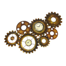 Antiqued Finish Metal Gears Wall Clock Steampunk Decor - This unique 34 inch long, 17 1/2 inch tall metal gears double wall clock features a metallic bronze antiqued finish. The gears contain a 4 1/2 inch diameter clock and a 3 inch diameter clock, each of which runs on a single AA battery. It will lend a great retro Steampunk look to your home or office.