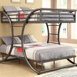 """Coaster - Full/Full Bunk Bed, Gunmetal - This is a fun and stylish full over full size bunk bed, the gunmetal color gives the contemporary decor for any child. The metal curve design softens and holds the sturdy support of the bed. Whether you seeking space saving features or simply a fun and attractive piece, this twin bunk will give your child's bedroom an updated look.; Casual Style; Finish/Color: Gunmetal; Bunkie Board Not Required; Dimensions: 82""""L x 60.75""""W x 65""""H"""