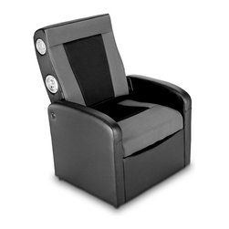 X Rocker - X Rocker Storage Flip Chair - Super comfortable arm chair will keep you happy for hours-long movie or gaming marathons. Cut the clutter with the spacious under-seat storage compartment, or fold down seat back for footrest. 2.0 stereo speakers give you a personal surround sound experience. Will play music from any source with headset or RCA outputs. Great for playing video games, listening to music, watching TV, reading, and relaxing. Overall Dimensions: 25.59 in. L x 26.77 in. W x 35.04 in. H (33.73 lbs)Welcome to the world of interactive audio. With the X Rocker Storage Flip Sound Chair you can now not only hear your music but actually feel it. Whether you are listening to music, watching a movie, or playing a game, you will become a part of the excitement. Get ready to experience sound as you never have. X Rocker Storage Flip Sound Chair with 2.0 Audio combines 3 awesome functions: you can sit in the comfy armchair for hours of gaming, movies, or just hanging out. You can lift up the seat to reveal a spacious storage compartment for your video games, DVDs, or whatever other type of clutter. And the seat back folds down turning this unit into a comfortable bench or footrest. Ergonomic design with full back support. Side facing speakers built into seat back. Great for listening to music, playing video games, watching TV, reading, and relaxing. A sleek side panel controls power & volume and provides input/output jacks. Connect using the provided cables to other gaming chairs for multi-player fun.