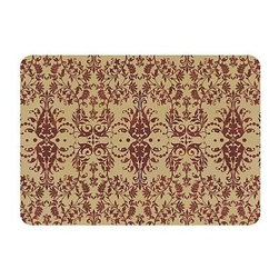Frontgate - French Scroll Comfort Mat - Printed mat design will compliment any home. Ideal for kitchens, laundry rooms, workshops, bathrooms, and garages. Holds pet food bowls in place and protects floors from messy spills. 8-mil thick neoprene backing. Machine washable. Our supportive and durable French Scroll Comfort Mat stylishly helps protect floors and reduce fatigue associated with daily activities. The elegant terra-cotta-colored scroll print on a neutral beige ground gives this functional mat a lovely look. With an 8-mil thick neoprene slip-resistant backing, this mat provides welcome relief for working feet and backs.. . . . . Colors will not fade from sun or other elements. Made in the USA.