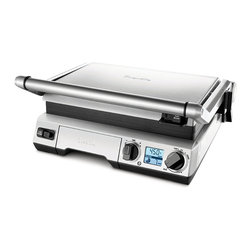 Frontgate - Breville Smart Grill - Three appliances in one: an open grill, a flat griddle, and a closed panini sandwich press. Interchangeable cast-aluminum non-stick plates are dishwasher safe. Digital temperature control. 6 Adjustable height settings to accommodate foods of various thicknesses. Removable drip tray. The versatile Breville Smart Grill converts from an open grill, to a flat griddle, to a panini sandwich press with ease. Smart Element IQ™ heat sensors embedded in the grill plates compensate for the temperature drop when cold food is placed onto the pre-heated surface, ensuring faster, more consistent results every time you cook. . .  . .  . Temperature dial with Low, Panini and Sear Modes . 30-minute timer dial with sound alert . 1 hour auto shut-off . 120V .