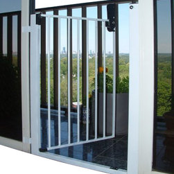 Cardinal Gates - Lock-n-Block Sliding Door Gate - Let the breeze in while keeping your children and pets from wandering out, when you install this innovative gate on your sliding glass door. This gate has easy installation, a secure structure, and opens one-handed in both directions. You can even use the screen door when the gate is in use, keeping pests out of your home!